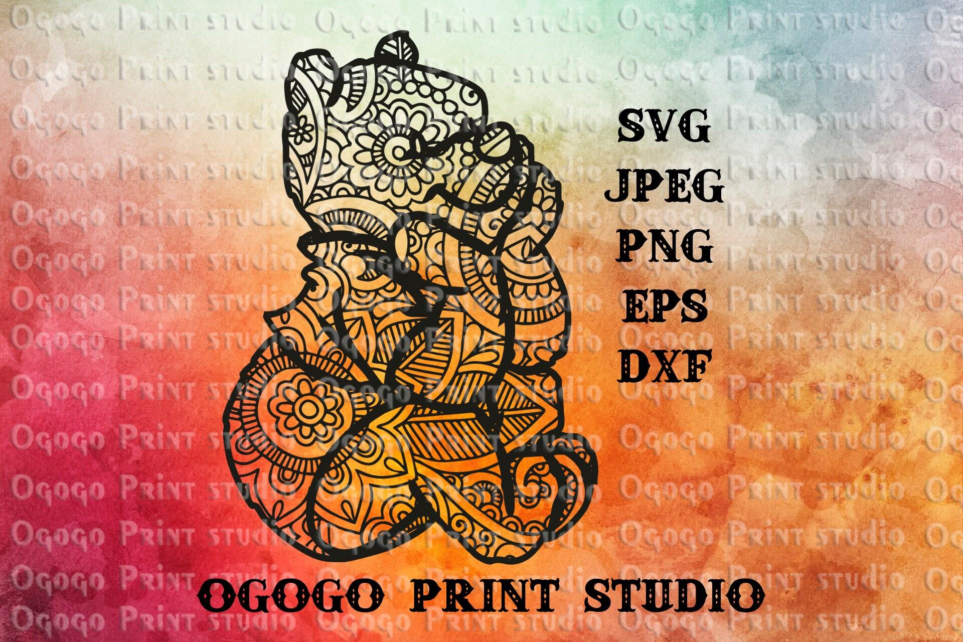 Mandala style Winnie the pooh svg Zentangle SVG Doodle Svg