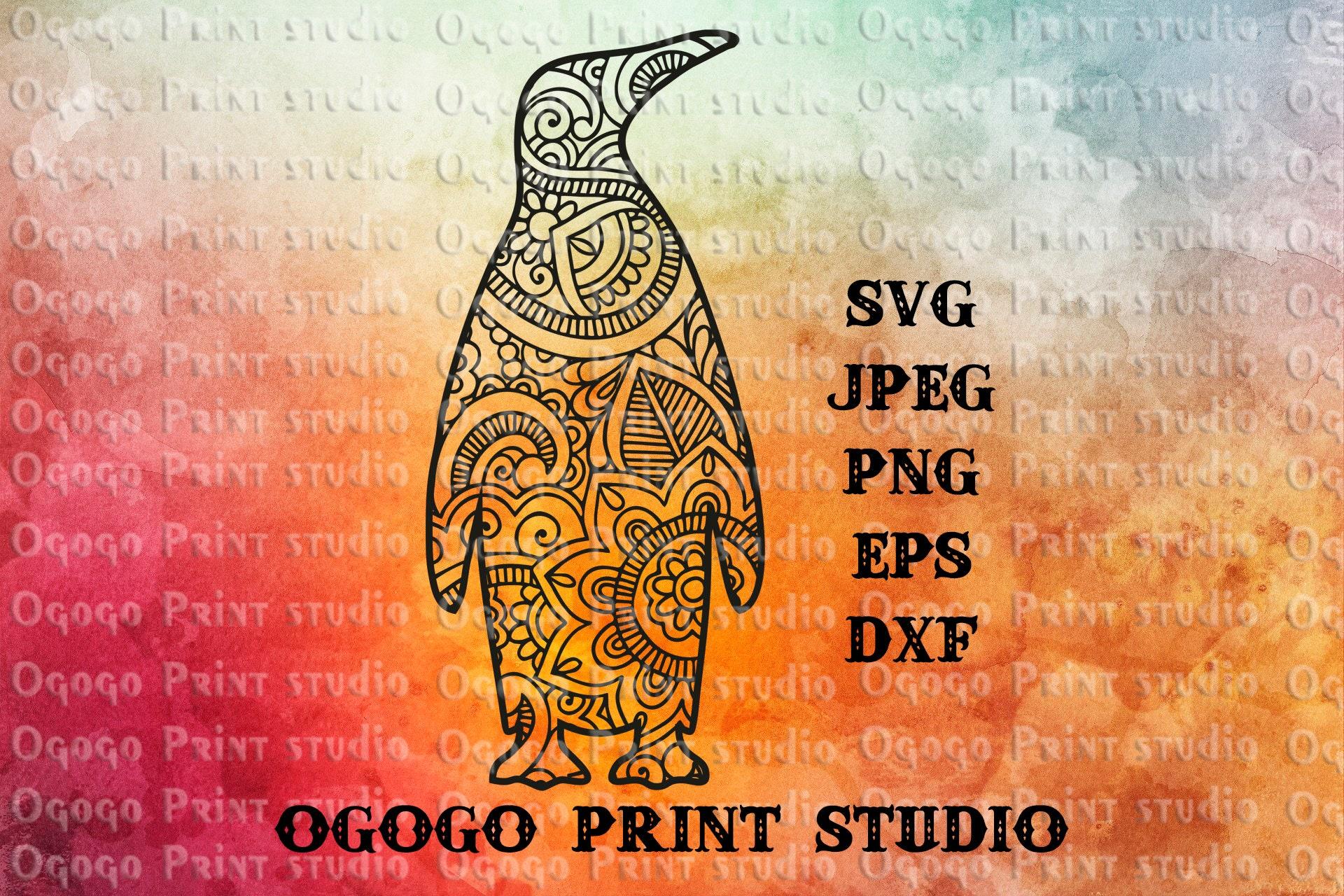 Penguin SVG Zentangle SVG Mandala svg Bird svg Paper cut