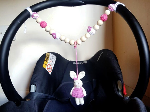 Set of two Personalised dummy clip  Pram charm pink for car seat pushchair bag