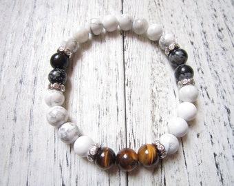 2019 Tiger Eye Bracelet,Black Alabaster Bracelet,Sterling Silver Jewelry,White Bracelet,Yoga Jewelry,Inspirational Bracelet,Gift For Men
