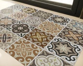 Marokkanische Fliesen Bodenmatte Pvc Kuche Teppich Etsy