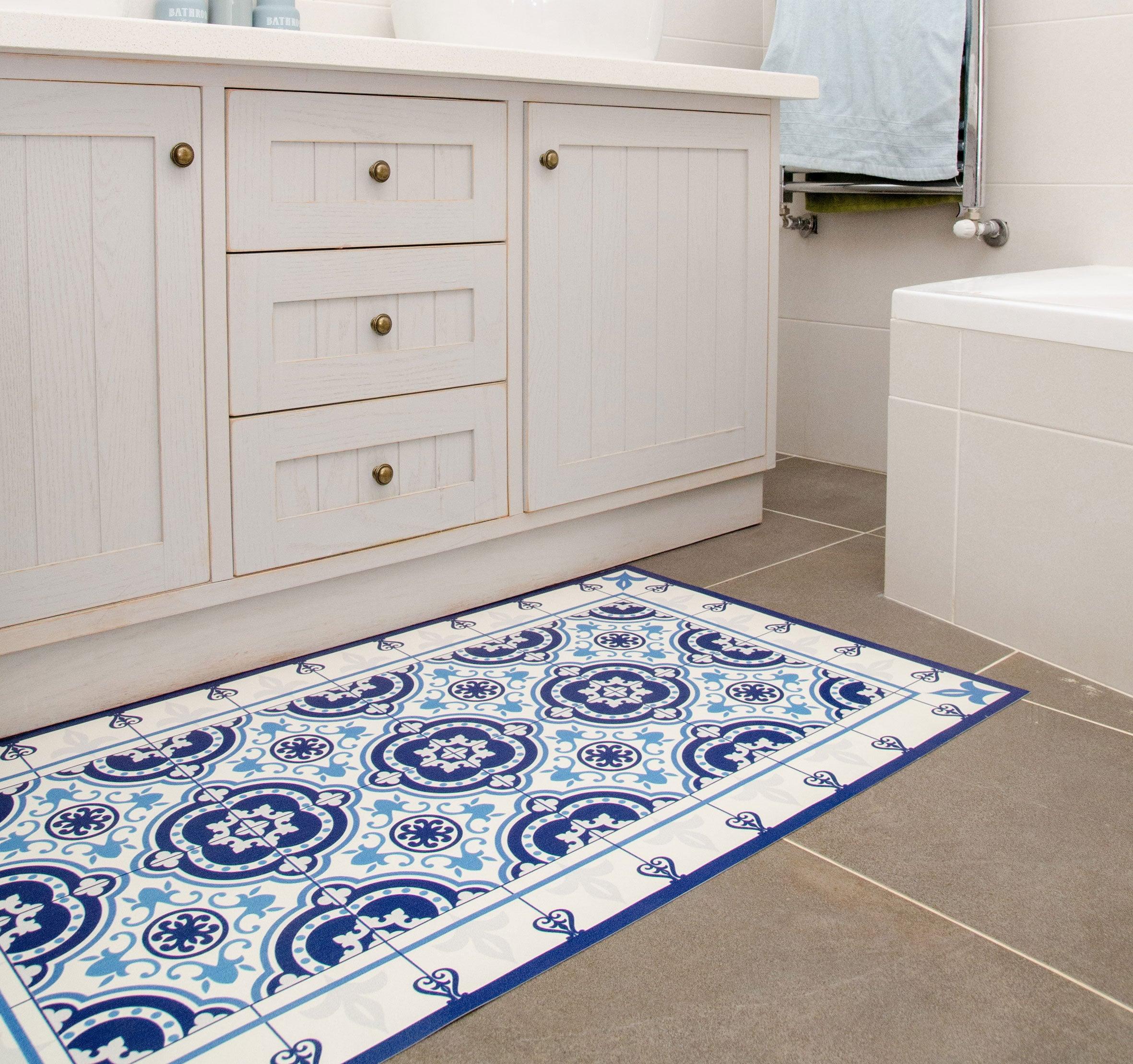 Moroccan Tiles Floor Mat Pvc Kitchen Rug Linoleum Area Rug