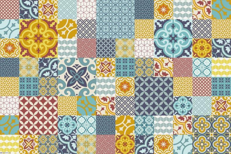 Stuoia del pavimento di piastrelle marocchine tappeto cucina etsy