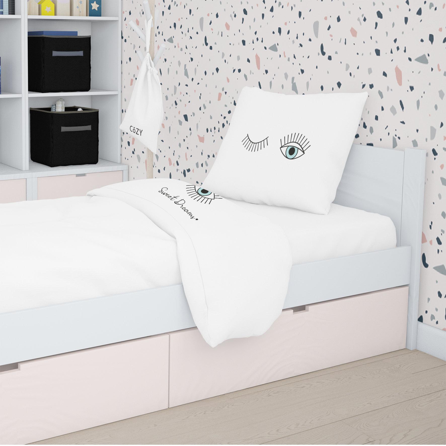 100% Coton Sheet Set, Pillowcae, lit simple, Protège-yeux mal, Blanc clair, literie, couette, ensemble de couverture, 3 Pièces Comfort Quilt