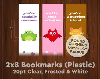 Bookmarks – 20pt Plastic w/ Round Corners (Clear, Frosted or White)