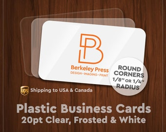 Business Cards – 20pt Plastic w/ Round Corners (Clear, Frosted or White)