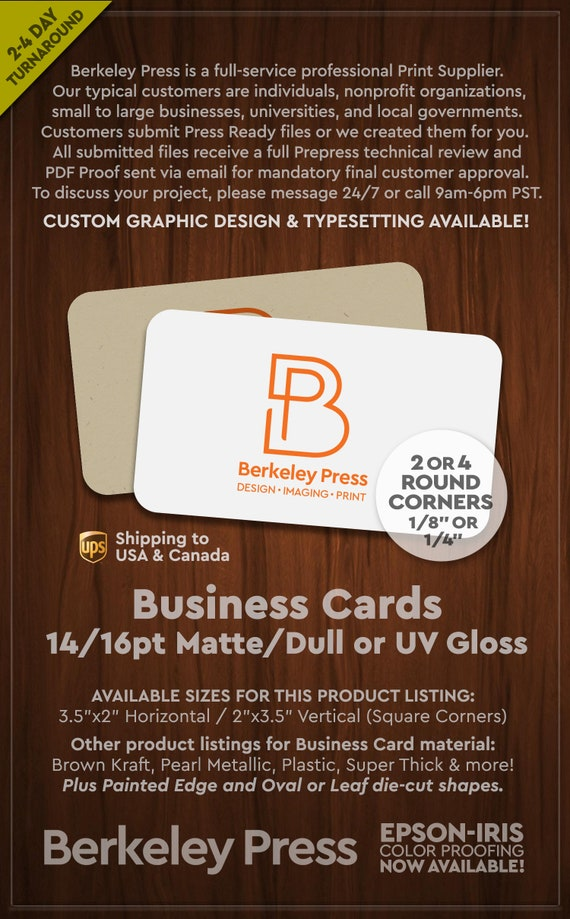 Business Cards 14pt/16pt Traditional w/ 2 or 4 Round Corners