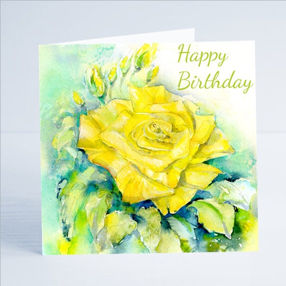Happy Birthday Yellow Rose Greeting Card Etsy