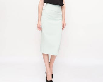 d4b9e6fa2e Mint pencil skirt, midi skirt, minimalist skirt, bodycon skirt, office  style skirt, cocktail skirt by Kuppers, suit skirt, office style.