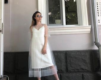 2731e77c46b1 White 2 Layered mesh dress.wedding simple minimalist dress. 2019 design  white ivory midi dress. Customizable. More colors available.