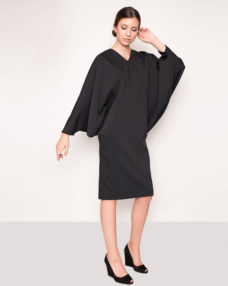 b592e8f588 Kuppers LBD cocktail dress butterfly sleeves dress midi