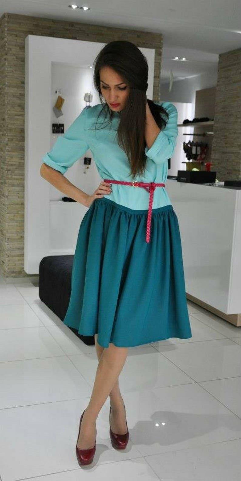 1ecb7cee47 Sukienka Midi zielony. Odcienie zieleni stylu vintage