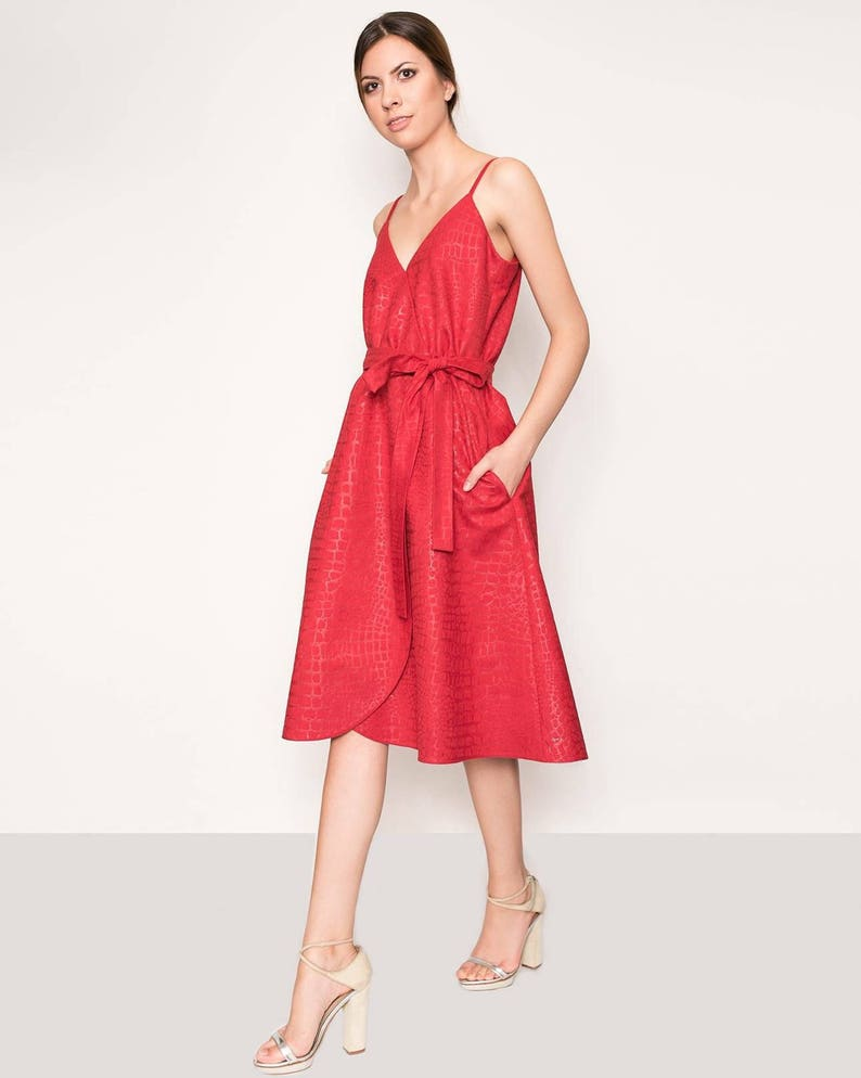 8b43a0b5cc Red spaghetti strap midi dress Vintage inspired midi