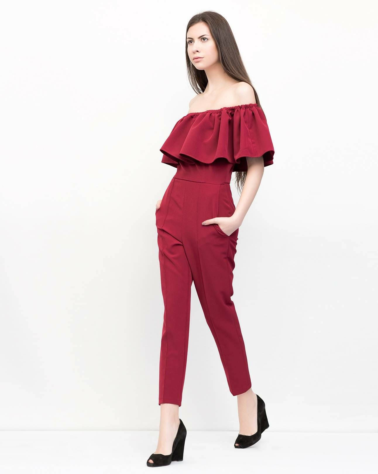 30332238cfd Burgundy ruffled jumpsuit. Stylish overall. Kuppers minimal