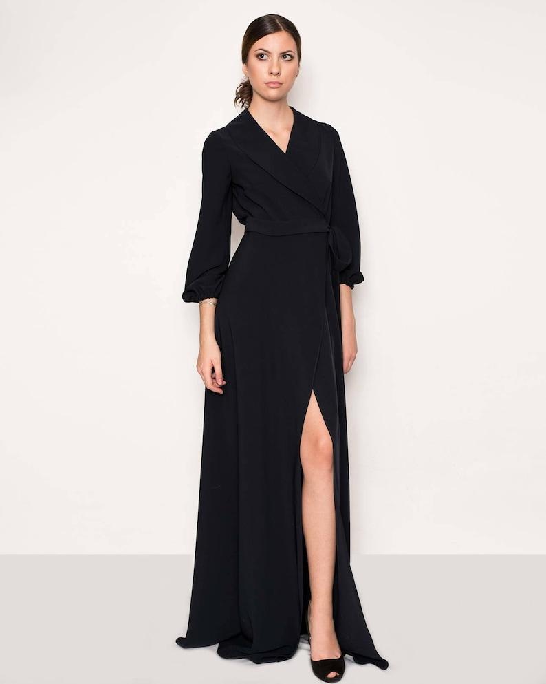 0f5eb59c7c7ea Black evening gown. Wrap long dress. Black tie evening dress.