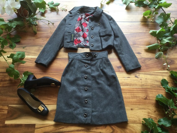 1940s/1950s Grey Wool Two Piece Suit Skirt Set Siz