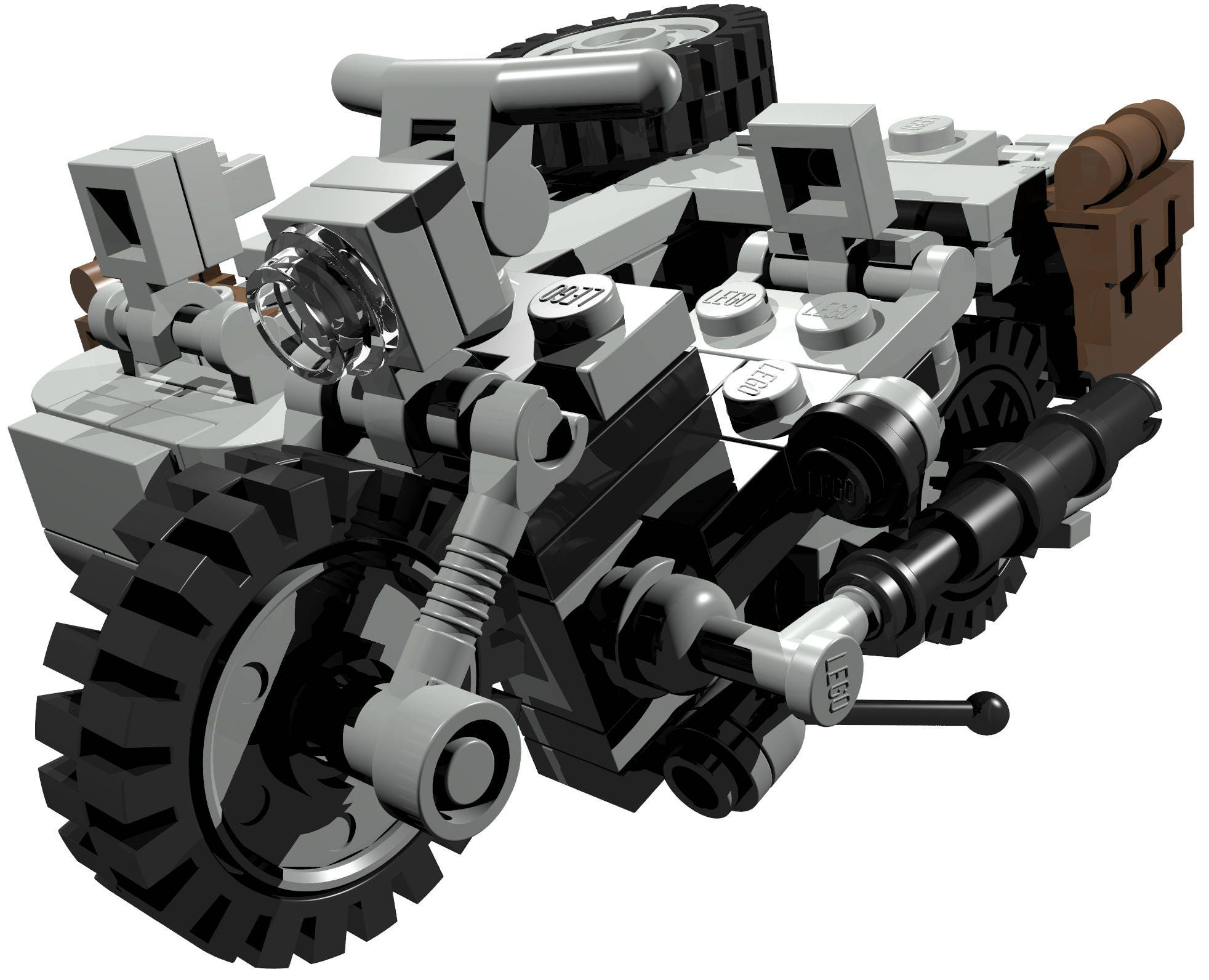 Motorcycle with sidecar professionell PDF building instructions on how to  build model out of LEGO® bricks