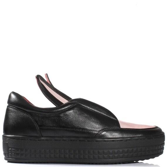 sneakers lapin cuir noir d blanc plate oreilles de Chaussures femmes ZFqSS