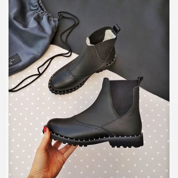 TL0030 shoes casual Chunky ankle boots Leather city Black modern Chelsea Custom women flat Urban boots heel shoes shoes platform style HqwHvWPSz
