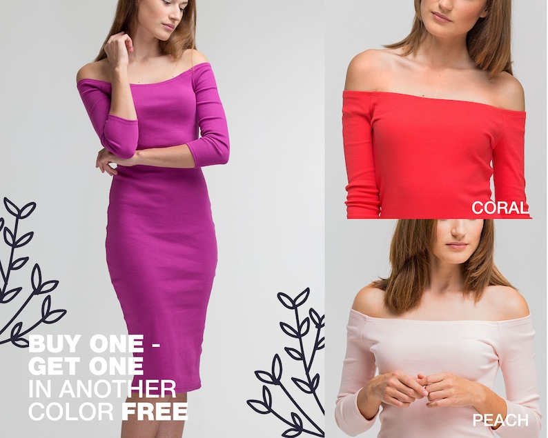 Bright Purple Bodycon Midi Dress Wedding Guest Off Shoulder Pencil Dress Magenta Cocktail Party Formal Gown Minimalist Casual Clothing