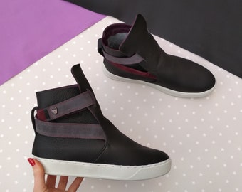 High top leather shoes, Women black ankle boots, Casual trendy city sneakers, Flat platform comfy shoes, Teen girl gift idea, Urban style