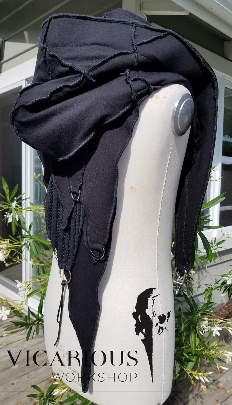 Black hooded medieval shoulder cloak
