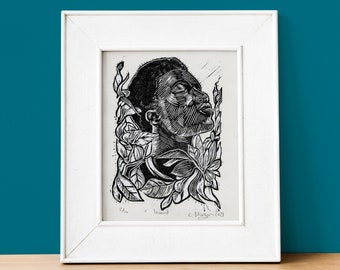 Inward  monochrome 1 layer lino cut print on Japanese paper, mindful portrait art with flowers, contemporary home decor art gift