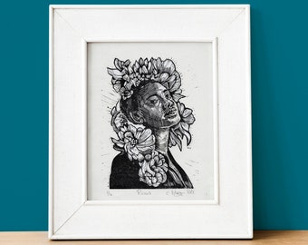 Renew monochrome 1 layer lino cut print on Japanese paper, mindful portrait art with flowers, contemporary home decor art gift