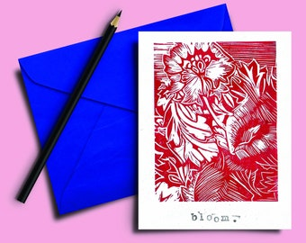 Handmade Lino print Card 5x7 inch. Bloom. Red and white hand carved and printed. Blank inside. Mindful. Gift note. Greeting