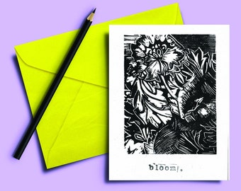 Handmade Lino print Card 5x7 inch. Bloom. Black and white hand carved and printed. Blank inside. Mindful. Gift note. Greeting