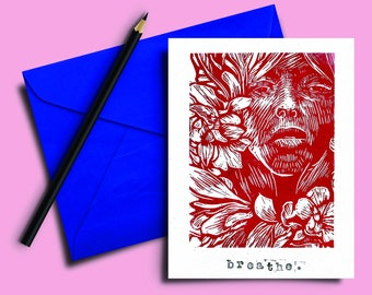 Handmade Lino print Card 5x7 inch. Breathe. Red and white hand carved and printed. Blank inside. Mindful. Gift note. Greeting