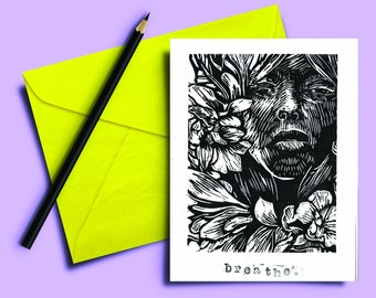 Handmade Lino print Card 5x7 inch. Breathe. Black and white hand carved and printed. Blank inside. Mindful. Gift note. Greeting