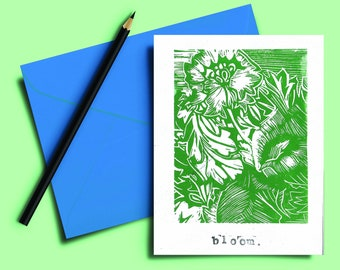Handmade Lino print Card 5x7 inch. Bloom. Green and white hand carved and printed. Blank inside. Mindful. Gift note. Greeting