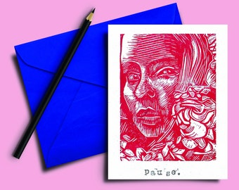 Handmade Lino print Card 5x7 inch. Pause. Red and white hand carved and printed. Blank inside. Mindful. Gift note. Greeting