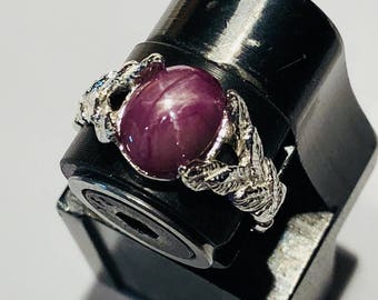 silver purple sapphire star ring