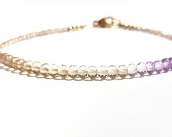 Ombre Ametrine and Sparkly Champagne Zircon Bracelet with 9ct Gold Clasp