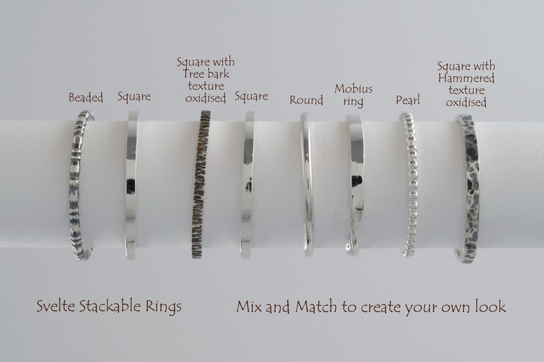 Sterling Silver Stackable Ring 1,5mm Round wire Polished High shine Elegant Minimalist Mix and Match Perfect gift For her Silver Stacking