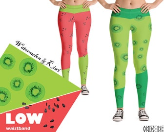 4479a2526a5c7 Women Fitness Leggings - watermelon leggings - Yoga kiwi Leggings – gym  pants - Training leggings - Elastic waistband
