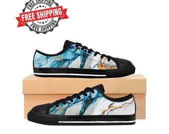 b93d514bf7 Women sneakers shoes Blue gold abstract watercolor design Sneakers