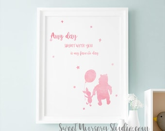 Hand Lettering Winnie The Pooh Kids Art, Winnie The Pooh Quote Art Any Day Spent With You Is My Favorite Day, Pastel Pink Printable Decor