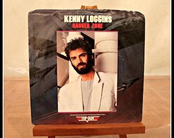 Vintage Kenny Loggins 45 RPM Record, Danger Zone, I'm Gonna Do It Right, Columbia Records, 1980s Rock Music, Top Gun Soundtrack, Vox Humana