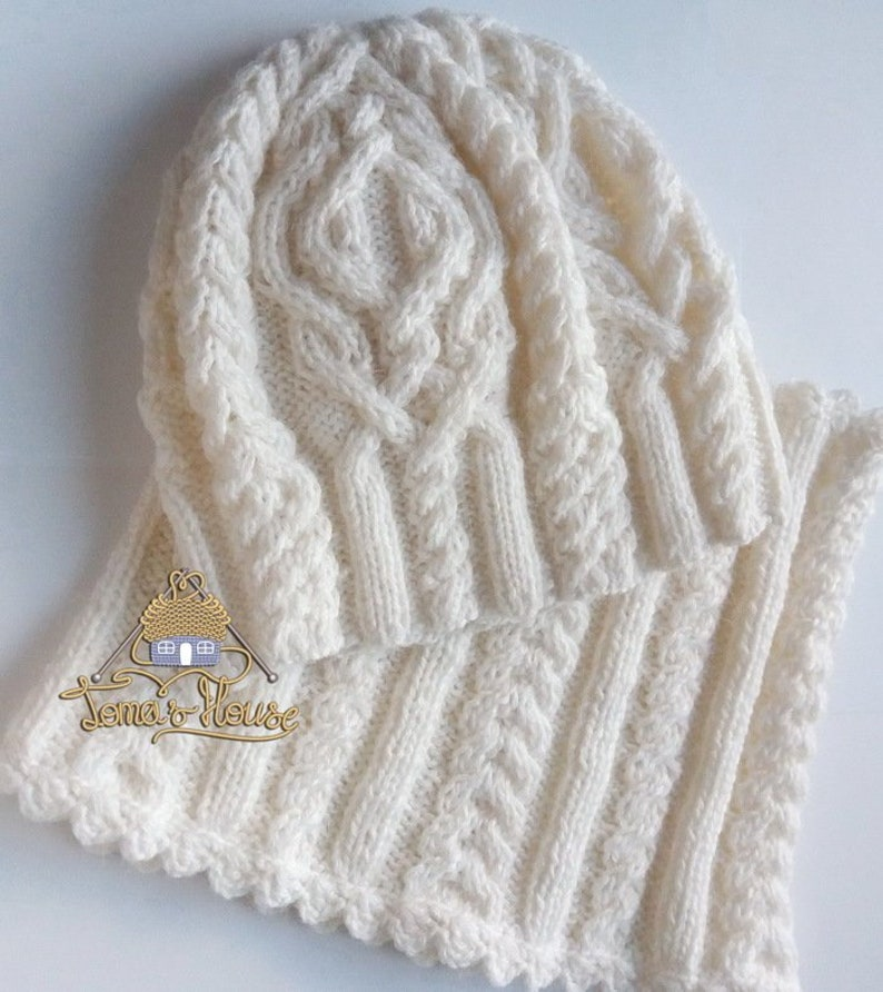 Aran Knitting Women Winter Hat and Scarf Set Chunky Knit Hat  1fcdab281a0