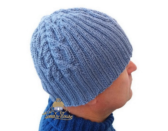 Mens Double Knitted Hat With Aran Pattern Chunky Knit Hat Etsy