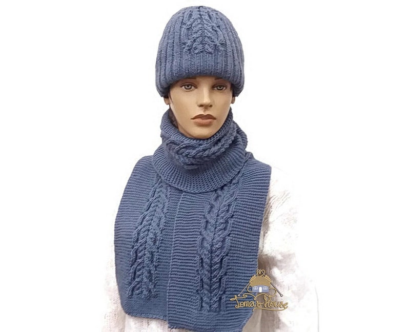 bfbe094ac54 Cable Knit Chunky Beanie Hat Scarf Set for Women and Men