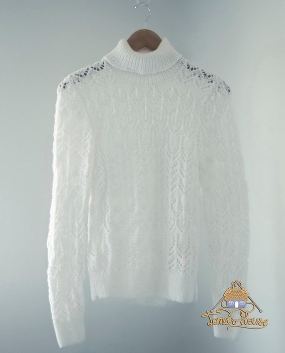 3085f7186f906 Hand Knitted Lace Womens Sweater Turtleneck with High Neck Collar, Cropped  Crew Neck Mohair Sweater, Knit See Through Blouse, Custom Sweater