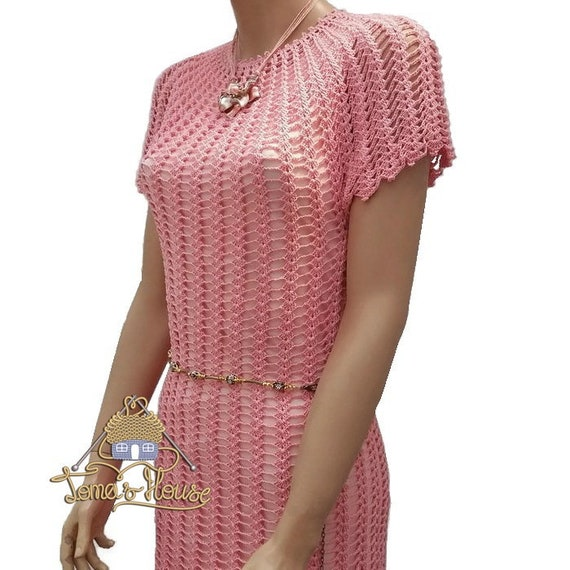 Women Pink Lace Crochet Dress With Round Yoke See Through Etsy