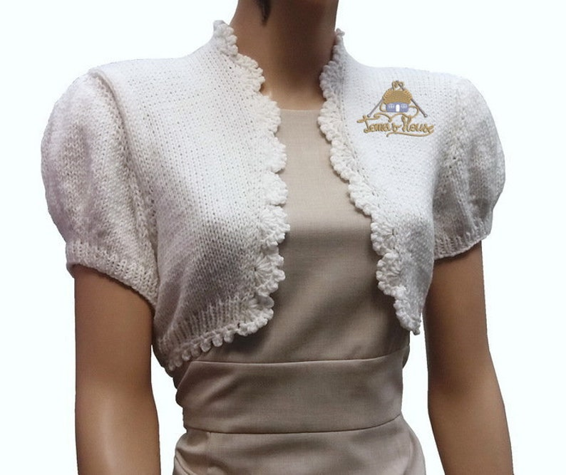 97abe8fbc9c White women vintage bridal knit short sleeve bolero Wedding