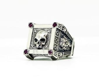 9a9470183 Unique Vampire Skull lab ruby 925 Sterling Silver Vintage Skull Men's Biker  Ring