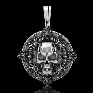 Death Scythe Skull Pendant Necklace bikers rider 925 sterling silver oxidized