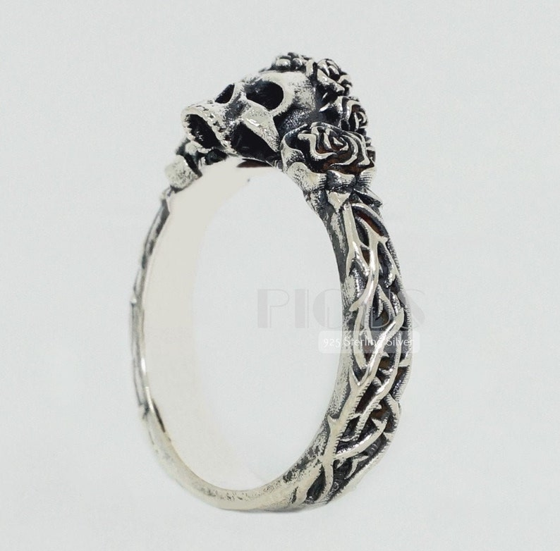 Gift Wedding 925 silver Gothic Flower Roses 14k White gold Engagement Crown Women Solid Yellow gold Girl Skull
